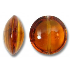 1 Murano Glass Dark Topaz 14mm Lentil Bead