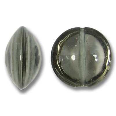 1 Murano Glass Black Diamond Lentil Bead