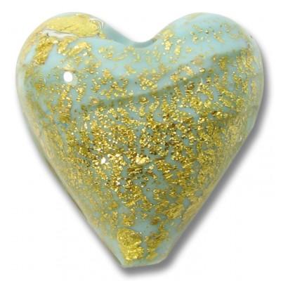 1 Murano Glass Crackle Goldfoil Aquamarine Heart