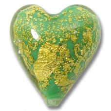 1  Murano Glass Crackle Goldfoil Celadon Green Heart