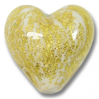 1  Murano Glass Crackle Goldfoil White 20mm Heart