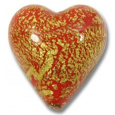 1  Murano Glass Crackle Goldfoil Ruby Heart