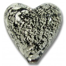 1 Murano Glass Crackle White Gold Foiled Black 20mm Heart