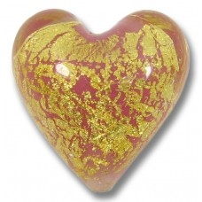 1 Murano Glass Crackle Goldfoil Rose Pink Heart