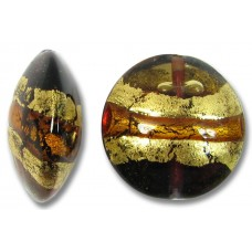 1 Murano Glass Topaz/ Amethyst Goldfoiled Large Lentil Bead