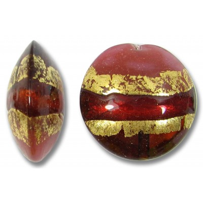 1 Murano Glass Ruby Rose Goldfoil Large Lentil Bead