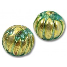 1 Murano Glass Goldfoil Green Ribbed Round 14mm Bead