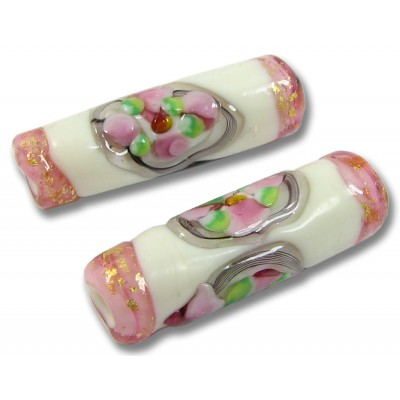 1 Murano Glass Pink/ Ivory Goldfoiled Flower Tube Bead