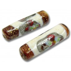 1 Murano Glass Ruby/ Ivory Goldfoiled Flower Tube Bead