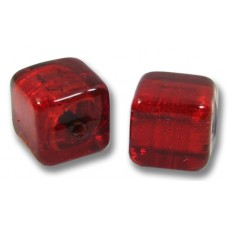 Pair Murano Glass Ruby Gold Foiled 8mm Cube Beads