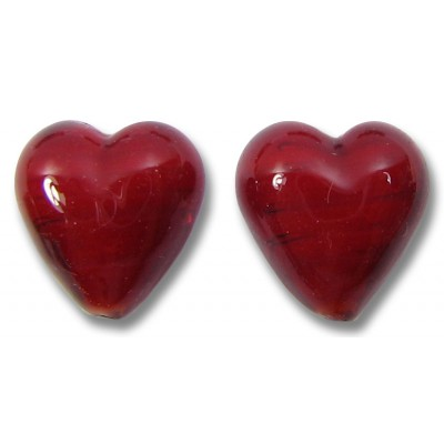 Pair Murano Glass Hearts - Clear over True Red Core