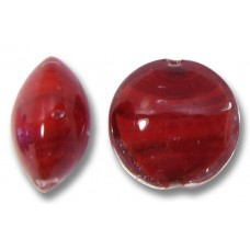1 Murano Glass True Ruby Core 14mm Lentil Bead