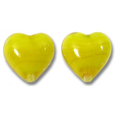 Pair Murano Glass Hearts Acid Yellow over White Core