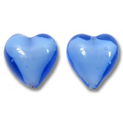 Pair Murano Glass Hearts Periwinkle Blue over White Core