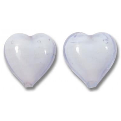 Pair Murano Glass Hearts Alexandrite over White Core