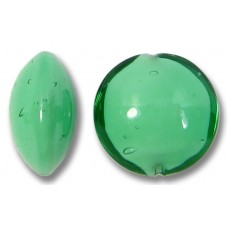 1 Murano Glass Emerald over White Core 14mm Lentil Bead