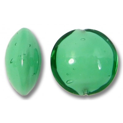 1 Murano Glass Emerald over White Core 14mm Lentil Bead
