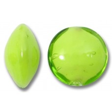 1 Murano Glass Lime over White Core 14mm Lentil Bead