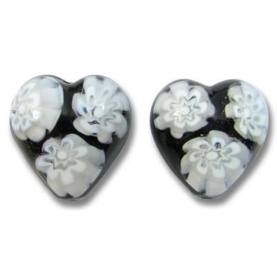 2 Murano Glass Black/ White Millefiore 12mm Heart Beads