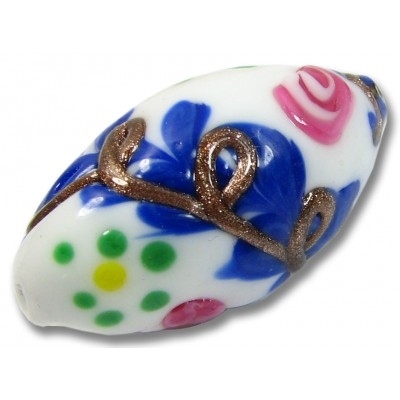 1 Murano Glass Gorgeous White/ Blue/ Flower Oval Focal Bead