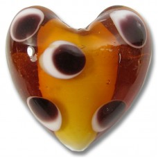 1 Murano Glass Topaz with Spots over White Core 30mm Heart