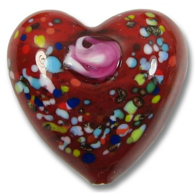 1 Murano Glass Deep Red with Rose 30mm Heart