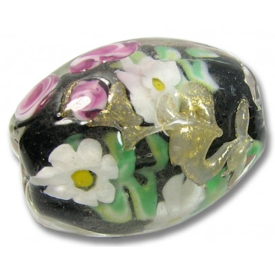 1 Murano Glass Black Floral Cased Focal Bead
