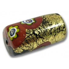 1 Murano Glass Black Barrel Bead with Goldfoil and Millefiore