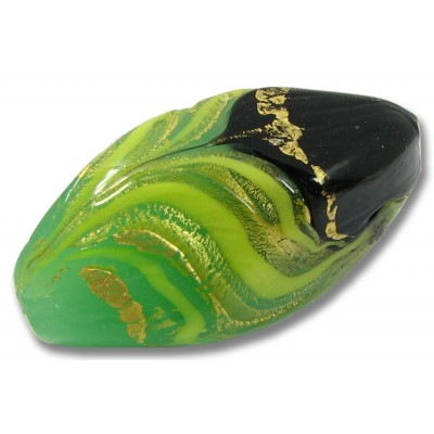 1 Murano Glass Green / Black / Gold Foil and Aventurine Focal Bead