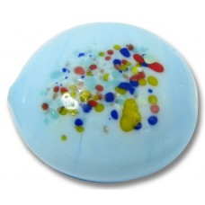 1 Murano Glass Duck Egg Blue Speckled Lentil Bead