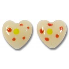 1 Murano Glass Dotted Heart Bead