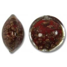 1 Murano Glass Sommerso 14mm Lentil Bead Siam Ginger