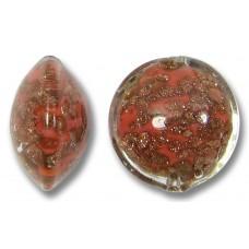 1 Murano Glass Sommerso 14mm Lentil Bead Coral & Ginger