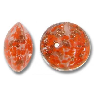 1 Murano Glass Sommerso Lentil Bead Pumpkin & Ginger