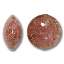 1 Murano Glass Sommerso Lentil Bead Rose & Ginger