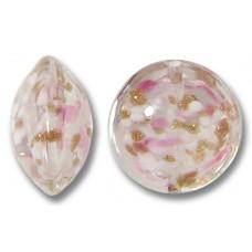 1 Murano Glass Sommerso Lentil Bead Rose Blush & Ginger