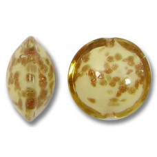 1 Murano Glass Sommerso Lentil Bead Butterscotch & Ginger