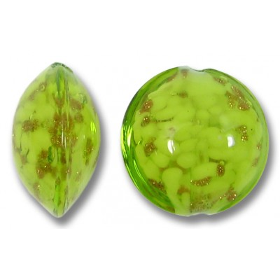 1 Murano Glass Sommerso Lentil Bead Lime & Ginger