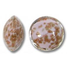 1 Murano Glass Sommerso Lentil Bead Delicate Rose & Ginger