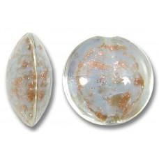 1 Murano Glass Sommerso Lentil Bead Marie Antoinette Blue & Ginger