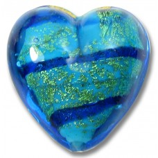 1 Murano Glass Turquoise/ Green with Black Stripe 20mm Heart