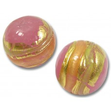 1 Murano Glass Pink & Butterscotch Goldfoil Round Bead