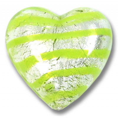 1 Murano Glass Silver Foiled with Peppermint Spiral 18mm Heart