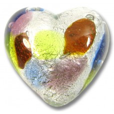 1 Murano Glass Springtime Multi Coloured Silver Foiled 18mm Heart
