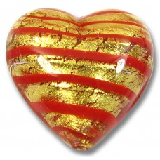 1 Murano Glass Gold Foiled Red Spiralina 18mm Heart