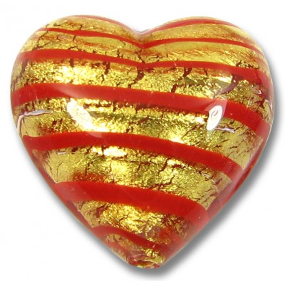 1 Murano Glass Gold Foiled Red Spiralina 18mm Heart