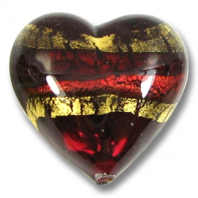 1 18mm Murano Glass Ruby Gold Foiled Band Heart