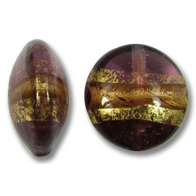 1 Murano Glass Amethyst Goldfoil Band 14mm Lentil