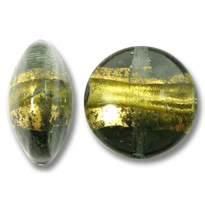 1 Murano Glass Black Diamond Goldfoil Band 14mm Lentil