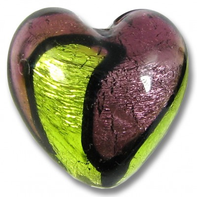 1 Murano Glass Bi Coloured Heart Bead Silver Foiled Dark Amethyst/ Lime